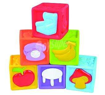 Baby Auchan Set de 6 Cubos de Goma Apilables de Colores 1 Unidad