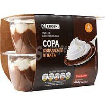 Eroski Copa de chocolate-nata Pack 4x115 g