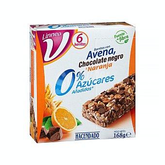Hacendado Barrita cereales avena chocolate negro y naranja (0% azucares añadidos) 168 g (caja 6 u)
