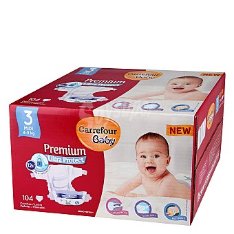 Carrefour Baby Pañal Premium T3 4-9 kg. 104 ud