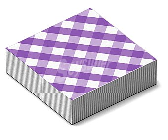 NV CORPORACION Servilletas de papel con cuadros morados y blancos, 33x33 centímetros 20 unidades