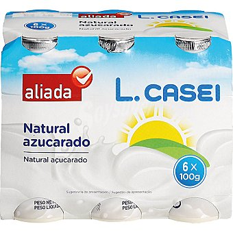 Aliada Yogur líquido l.casei natural azucarado Pack 6 unidades 100 g