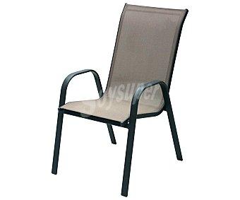 Garden Star Silla aplilable fija para jardín, con estructura de acero, asiento y respaldo de textileno, de color marrón y medidas de 71x55x96 centímetros 1 unidad