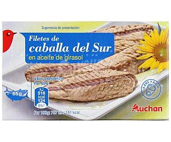 Auchan Filetes de caballa del sur en aceite de girasol Lata de 65 gramos