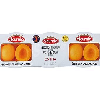 ALCURNIA Melocotón en almíbar en mitades neto escurrido Pack 3 latas 115 g