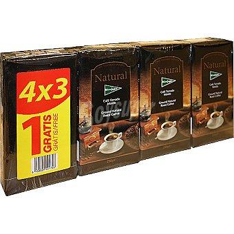EL CORTE INGLES café natural +1 gratis pack ahorro 3 paquetes 250 g