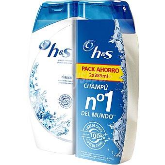 H&S champú anticaspa Classic para cabello normal pack 2 frasco 385 ml