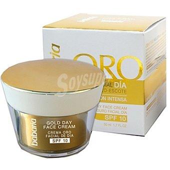 Babaria Crema hidratante facial de día SPF-10 Oro para cara cuello y escote Tarro 50 ml
