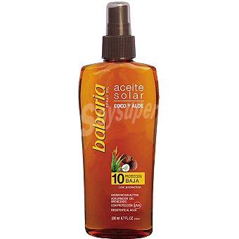 Babaria aceite solar coco y aloe vera FP-10 hidratación activa  spray 200 ml
