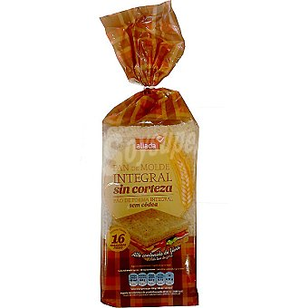 Aliada pan de molde integral sin corteza 16 rebanadas Bolsa 450 g