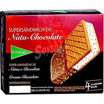 El Corte Inglés Supersándwich de helado de nata y chocolate estuche 580 ml 4 unidades
