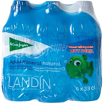 El Corte Inglés Agua mineral natural de mineralización muy débil pack 6 botellas 33 cl Pack 6 botellas 33 cl