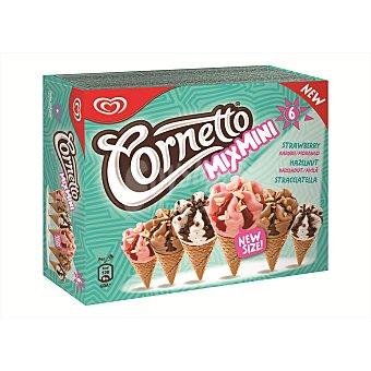 Cornetto Helado cono mix mini fresa, avellana y stracciatella pack de 6x60 ml