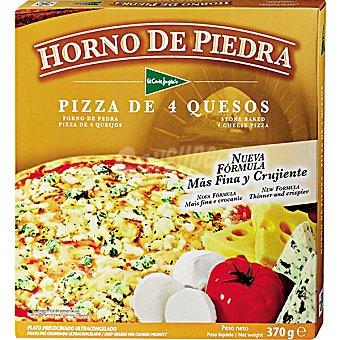 El Corte Inglés Pizza de 4 quesos más fina y crujiente Horno de Piedra Estuche 370 g