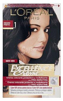 Excellence L'Oréal Paris Tinte negro nº 1 crema color triple cuidado con Pro-keratina + Ceramida + Colágeno Caja 1 unidad