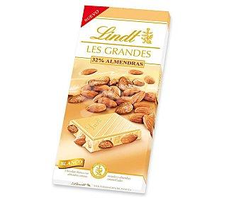 LINDT LES GRANDES Chocolate blanco con 32% de almendras enteras Tableta 150 g