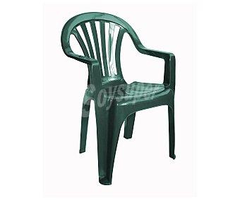 RESOL Silla fija aplilable modelo Pals para jardín. Fabricada en resina de color verde, con respaldo bajo y medidas: 53x52.8x82.7 centímetros 1 unidad