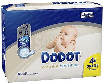 Dodot Sensitive Pañales talla 2, para bebés de 4 a 8 kilogramos 34 uds