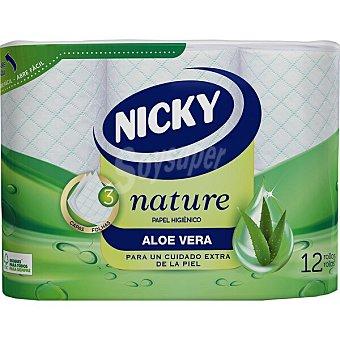 Nicky Papel higénico Aloe Vera extra suave 3 capas paquete 12 rollos paquete 12 rollos