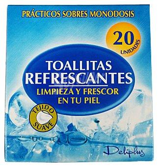 Deliplus Toallitas húmedas refrescantes tejido suave (envase individual) Paquete 20 toallitas