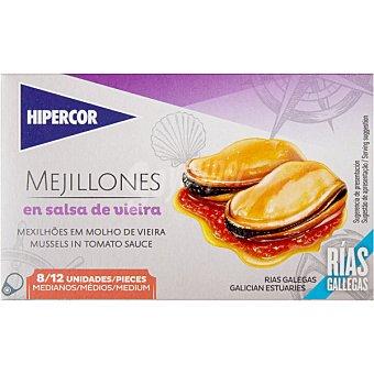 Hipercor Mejillones en salsa vieira de las rías gallegas 8-12 piezas lata 69 g neto escurrido Lata 69 g neto escurrido