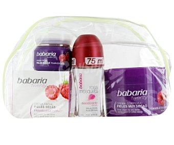 BABARIA Neceser frambuesa: crema facial +crema corporal +desodorante roll-on 1 Unidad