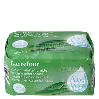 Carrefour Papel higiénico húmedo aloe vera Pack 2x60 ud