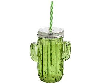 CRISTALERÍA Jarra con forma de cactus, tapa y pajita, , color verde cristalería 0,35 litros