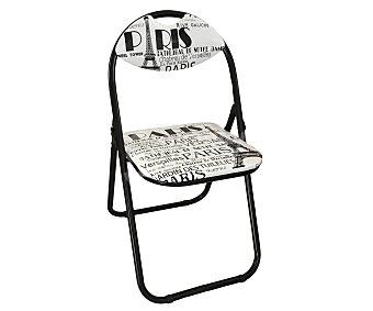 SDPE Silla plegable estampada modelo Paris, fabricada en metal con asiento y respaldo acolchados, 89x29x45 centímetros 1 Unidad