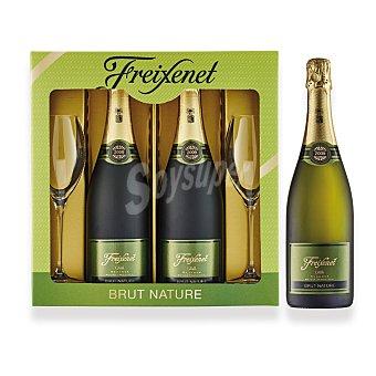 """Freixenet Lote 114: Estuche D.O. """"cava"""" Brut Nature reserva + regalo 2 copas Pack 2x75 cl"""