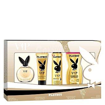 Playboy Fragrances Pack Playboy woman VIP colonia 90 ml + crema 75 ml + Desodorante 150 ml + gel 250 ml. 1 ud