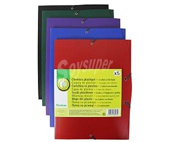 Productos Económicos Alcampo Lote de 5 carpetas de polipropileno opaco de diferentes colores, tamaño A4, con solapas y cierre de gomas 1 unidad
