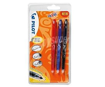 Pilot Lote de 3 bolígrafos del tipo roller, punta fina con grosor de escritura de 0.5 milímetros y tinta líquida borrable azul, roja y negra 1 unidad