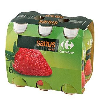 Carrefour Yogur líquido Sanus fresa + vitamina C Pack de 6x100 g