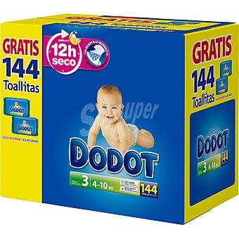 Dodot Pañales de 4 A 10 kg talla 3 caja 144 unidades 144 unidades