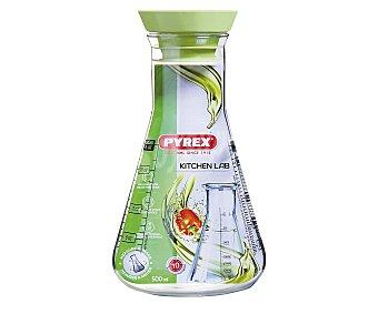 PYREX Recipiente de vídrio con tapa e impresiones de medida hasta 0,5 litros, modelo Kitchen Lab 1 unidad