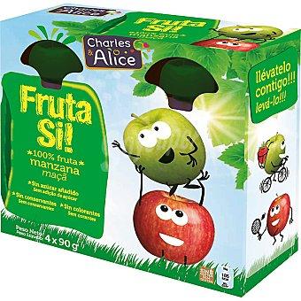 Charles & Alice Fruta si! Manzana 100% fruta lista para beber Pack 4 envases 90 g