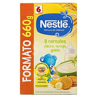 Nestlé Papilla polvo 8 cereales con plátano naranja y galleta a partir de 6 meses Caja de 660 g
