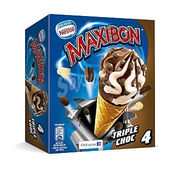 Maxibon Nestlé Cono con helado de triple chocolate decorado con cereales Caja 4 uds