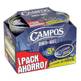 CAMPOS bonito en aceite de oliva pack-3 latas 246 g