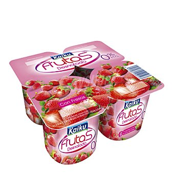 Kaiku - Frutas Yogur desnatado con fresas Pack de 4x125 g