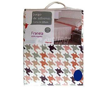 AUCHAN Juego de sábanas de franela para cama de 105 centímetros, bajera y funda de almohada color rosa, y encimera estampada, 140 gramos/m² 1 Unidad