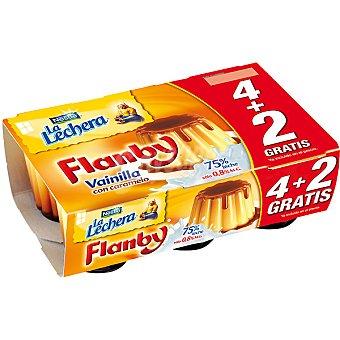 La Lechera Nestlé Flan de vainilla con caramelo + 2 gratis Flanby Pack 4 unidades 100 g