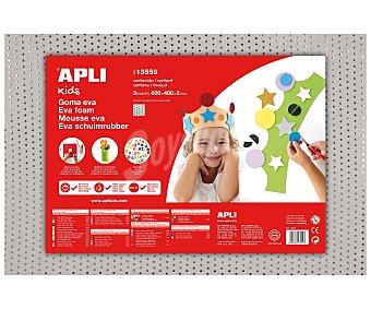 APLI Plancha de foam, goma eva de color blanco con puntitos metálicos y dimensiones 400x600x2 milímetros 1 unidad