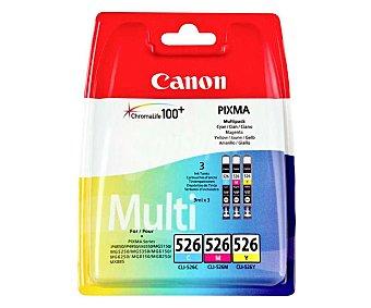 Canon Pack de cartuchos de tinta CLI-526, cian, magenta y amarillo. compatible con impresoras: iP4850 / iP4950 / iX6550 / MG5150 / MG5250 / MG5350 / MG6150 / MG5260 / MG8150 / MG8250 / MX885
