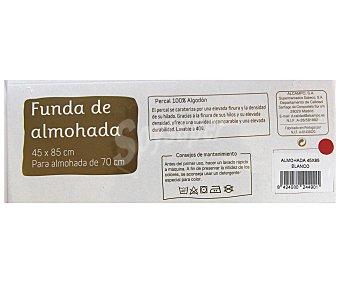 Auchan Funda para almohada de percal, color blanco, 70/80 centímetros 1 Unidad