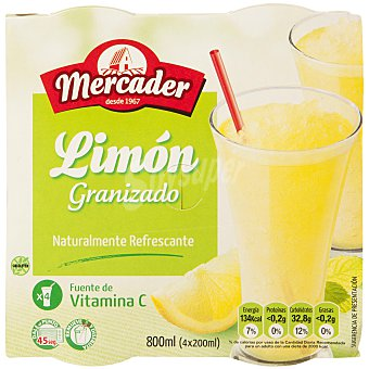 MERCADER Granizado de limón Pack 4x200 ml