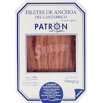 Patrón Filetes de anchoas del Cantábrico en aceite vegetal Bandeja 75 g neto escurrido