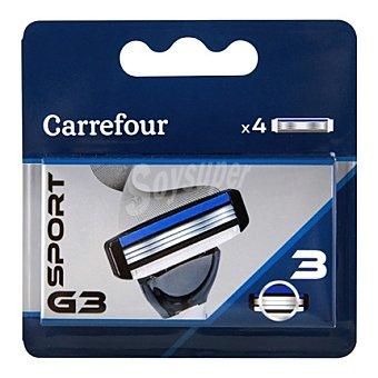 Carrefour Recambio maquinilla 3 hojas G3 sport 4 unidades
