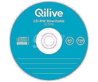 Qilive Pack de 5 CD regrabable cd-rw Slim Case, 700MB, 80min, velocidad X5 Q.9116